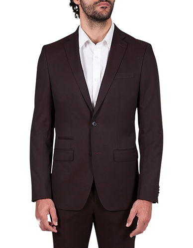 Kenneth Cole Reaction Slim-Fit Crosshatch Suit Jacket-RED-42 Regular