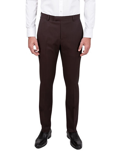 Kenneth Cole Reaction Slim-Fit Crosshatch Suit Pants-RED-32X32