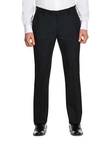Kenneth Cole Reaction Micro Dot Stretch Slim-Fit Suit Pants-BLACK-38X32