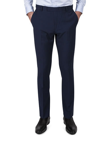 Kenneth Cole Reaction Slim-Fit Microgrid Suit Pants-BLUE-34X32