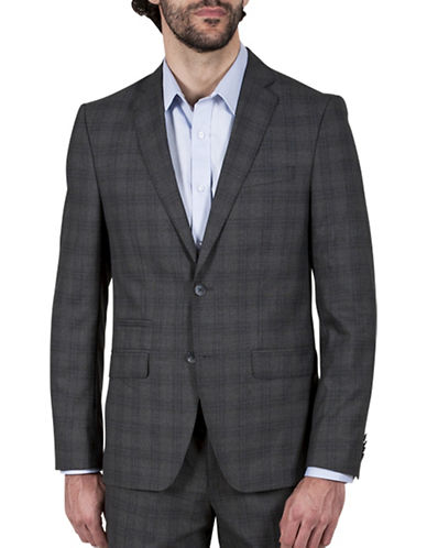 Kenneth Cole Reaction Heather Plaid Jacket-GREY-38 Short