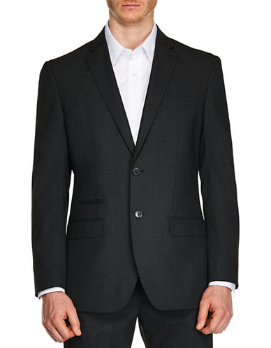 Kenneth Cole Reaction Mini Gingham Slim-Fit Suit Jacket-GREY-44 Regular