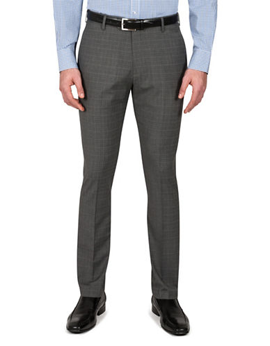 Kenneth Cole Reaction Slim-Fit Melange Subtle Pattern Trousers-GREY-36X30