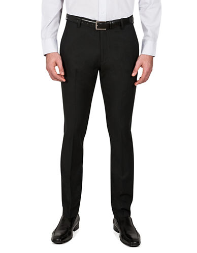 Kenneth Cole Reaction Slim-Fit Two-Tone Trousers-BLACK-38X32