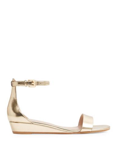 Aldo Kerina Ankle Strap Demi-Wedge Sandals-GOLD-6.5