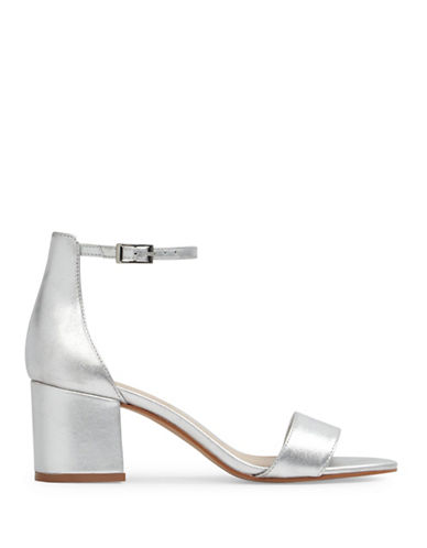 Aldo Villarosa Low Block Heel Metallic Leather Sandals-SILVER-8