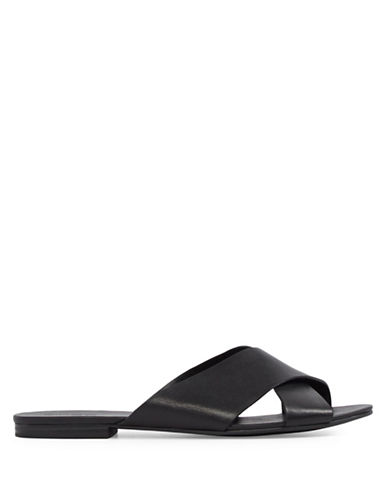 Aldo Cammila Crisscross Leather Slide Sandals-BLACK-7