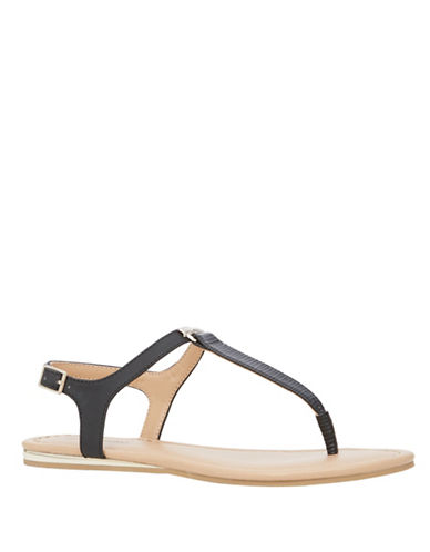 Call It Spring Blinder Flat T-Strap Sandals-BLACK-10