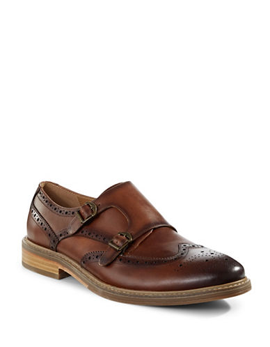 Pegabo Asaynia Leather Wingtip Monk Strap Shoes-BROWN-EU 43/US 10