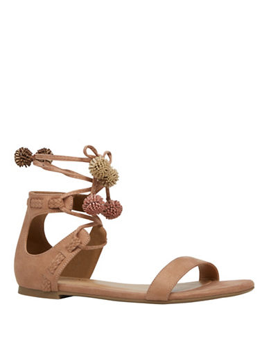 Call It Spring McKeague Pompom Flat Sandals-BROWN-7