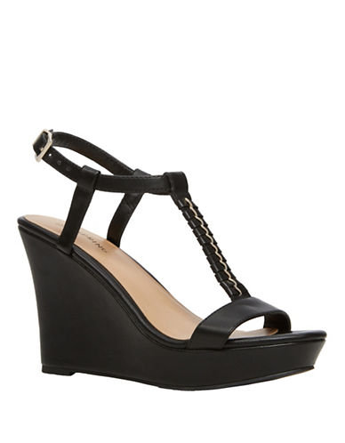 Call It Spring Leathers Wedge Sandals-BLACK-9
