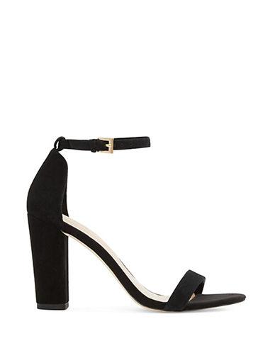 Aldo Myly Suede Block Heel Sandals-BLACK-8.5
