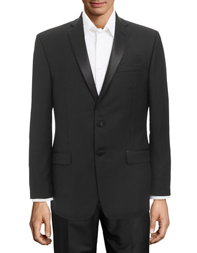 Calvin Klein Slim Satin Trim Tuxedo Jacket-BLACK-46 Regular