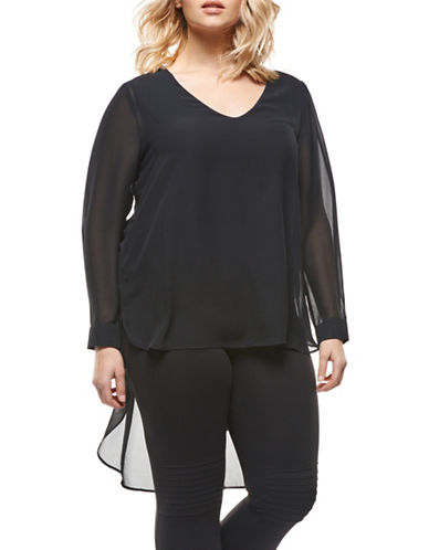 Dex Plus Fooler V-Neck Top-BLACK-3X