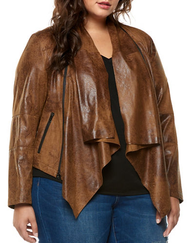 Dex Plus Coated Open Front Jacket-DARK TAN-2X