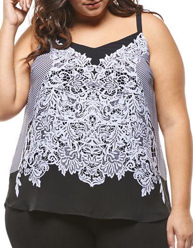 Dex Plus Lace Print Camisole-WHITE LACE-1X