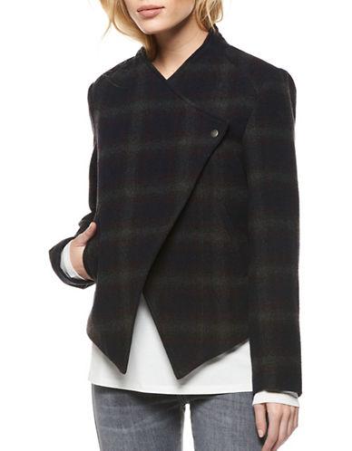 Dex Plaid Wool-Blend Wrap-Front Jacket-BLUE-X-Small 89454238_BLUE_X-Small