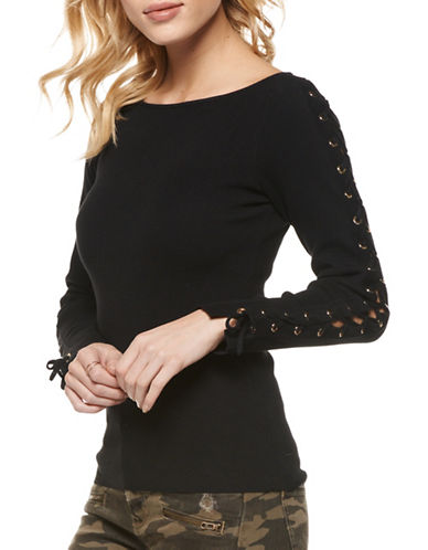 Dex Lace-Up Sleeve Sweater-BLACK-Small
