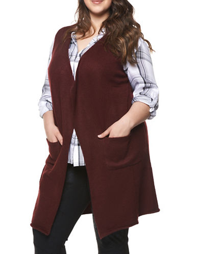 Dex Plus Sleeveless Knit Cardigan-PURPLE-2X