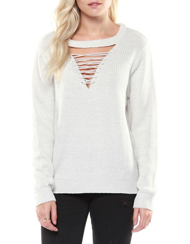 Dex Long Sleeve Sweater-WHITE-Small