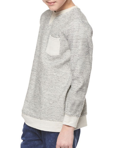 Dex Pocket Crew Neck Cotton Sweater-GREY-10-12