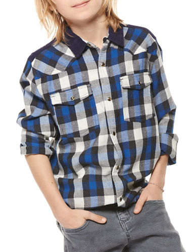 Dex Cotton Plaid Shirt-BLUE-8-10