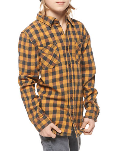 Dex Long-Sleeve Plaid Cotton Button-Down Shirt-GREY-Medium
