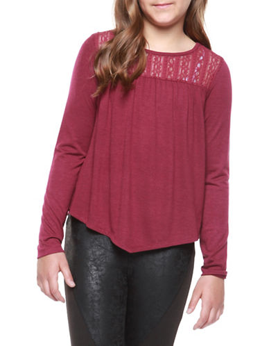 Dex Lace Trim Blouse-DARK RED-Small