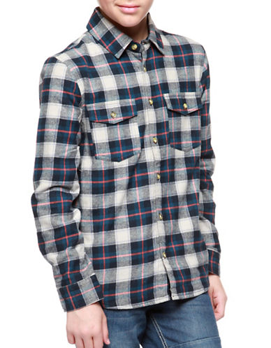 Dex Cotton Plaid Shirt-NAVY-14-16