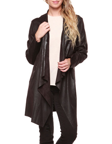 Dex Coated Suede Cardigan-BLACK-Small