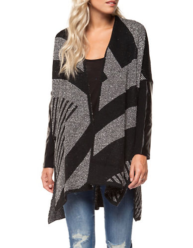 Dex Open Front Cardigan-BLACK MULTI-Large