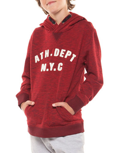 Dex Long-Sleeve Melange Print Cotton Hoodie-RED-Medium