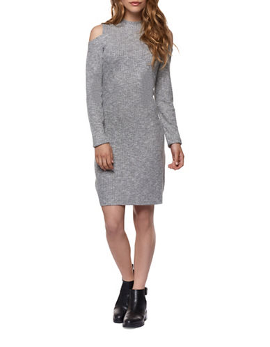 Dex Cold-Shoulder Knit Dress-GREY-Medium