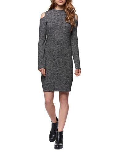 Dex Cold-Shoulder Sweater Dress-GREY-Medium