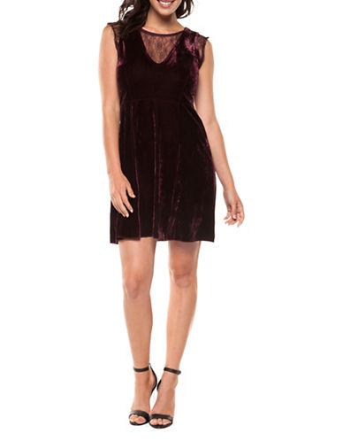 Dex Velvet Lace Dress-PURPLE-Small