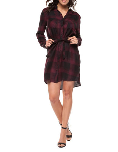 Dex Plaid Belted Shirt Dress-BURGUNDY-Small
