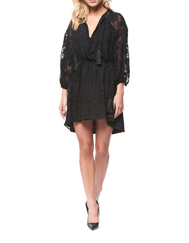 Dex Embroidered Hi-Low Dress-BLACK-Small