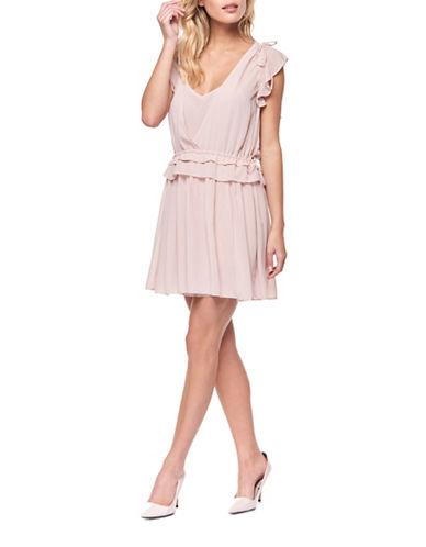 Dex Layered Flutter Sleeve Dress-BLUSH-Large