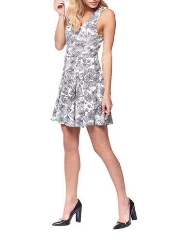 Dex Floral-Print A-Line Dress-BLACK/WHITE-Large