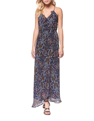 Dex Ruffled Front Maxi Dress-NAVY PRINT-Medium