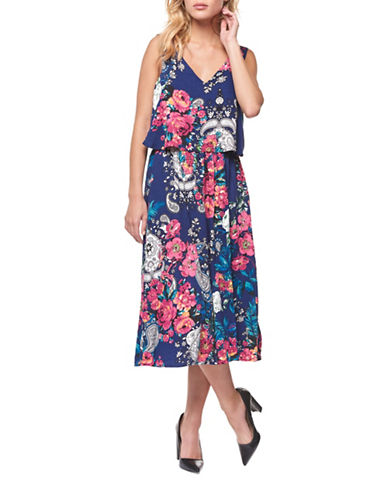Dex Floral-Print Crisscross Back Dress-NAVY/RED-Large