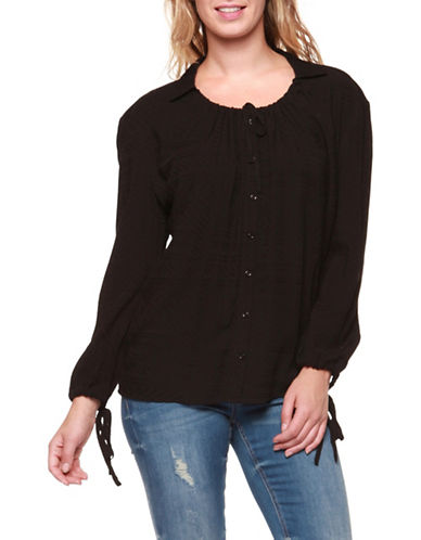 Dex Long Sleeve Slit Blouse-BLACK-Medium