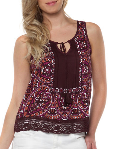Dex Lace Detail  Print Top-RED-Medium
