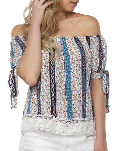 Dex Mixed-Print Off-the-Shoulder Top-BLUE MULTI-Large