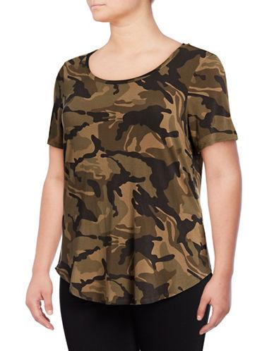 Dex Plus Floral Hi-Lo T-Shirt-GREEN-3X