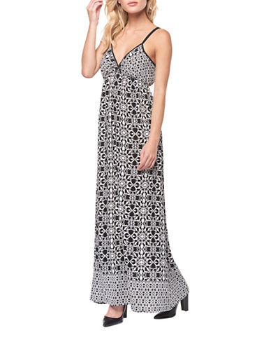 Dex Printed Maxi Dress-BLACK/WHITE-Small