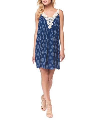 Dex Pleated Crochet-Trim Dress-BLUE-X-Small