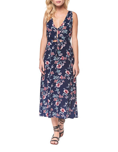 Dex Floral Cut-out Midi Dress-NAVY MULTI-Large