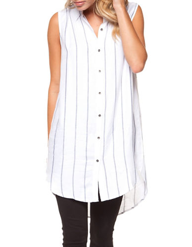 Dex Sleeveless Striped Tunic-WHITE/BLACK-Small