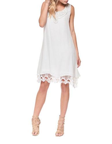 Dex Crochet-Trim Shift Dress-OFF WHITE-Small